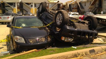 Flipped car next to unflipped car, April 30 2011