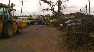 19th Street East, looking west, 5 days after the epic 4/27/2011 Tuscaloosa tornado. (Tanya Mikulas, photographer)