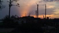 sunset, May 2, 2011. After curfew in the tornado zone, Tuscaloosa, Alabama. (Tanya Mikulas, photographer)