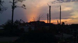 sunset, May 2, 2011. After curfew in the tornado zone, Tuscaloosa, Alabama. (Tanya Mikulas, photographer)