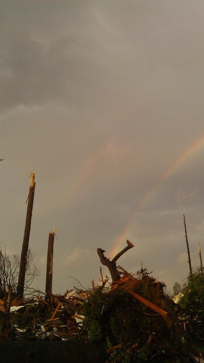 rainbows over tuscaloosa tornado damage, photo by Tanya Mikulas