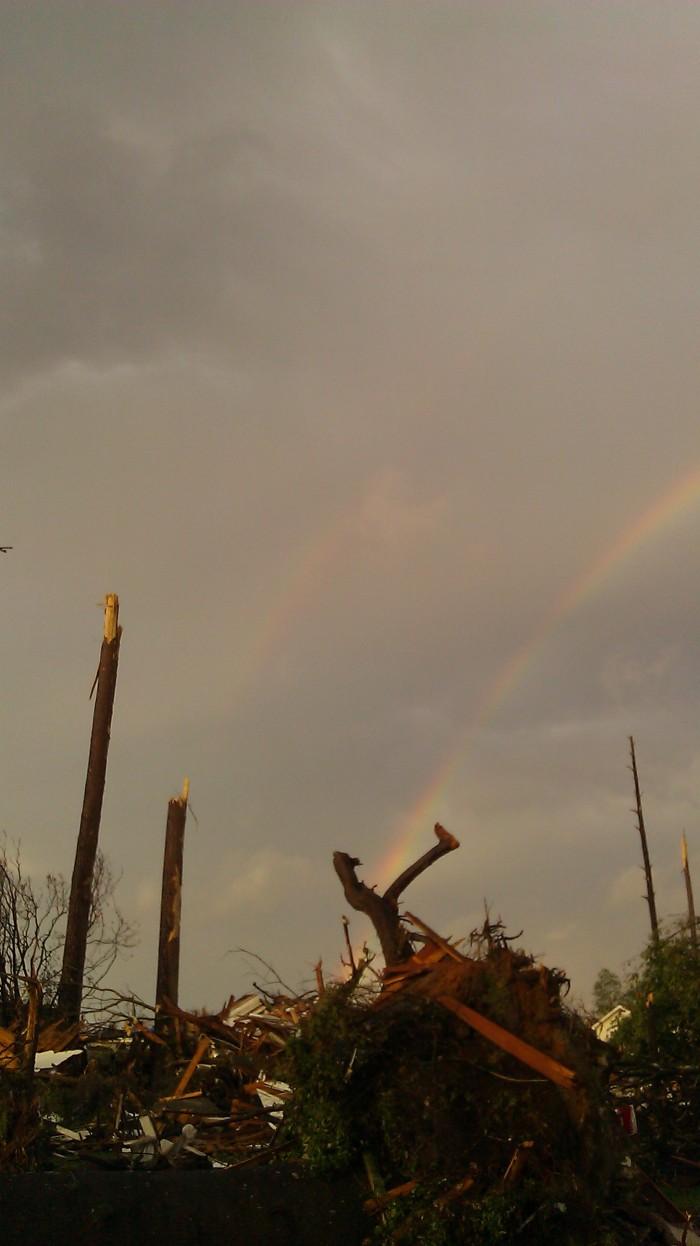 rainbows over tuscaloosa tornado damage, photo by Tanya Mikulas