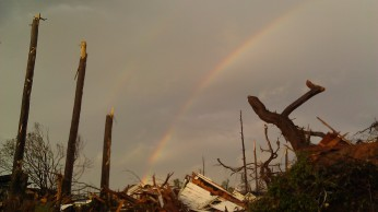 After a thunderstorm on May 3, there was a double rainbow at sunset over my tornadoed neighborhood. Tanya Mikulas, photographer.