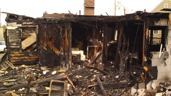 On the night of April 29, a fire was reported in Forest Lake neighborhood. This was the house, one block south of mine. Tanya Mikulas, photographer.