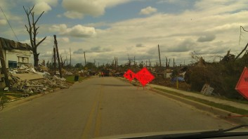 Roads were constantly blocked for debris removal. Tanya Mikulas, photographer.