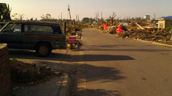 be prepared to stop. no way to avoid streets lined with debris. Tanya Mikulas, photographer.
